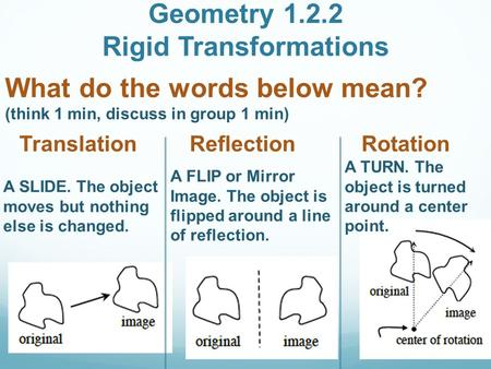 Geometry 1.2.2 Rigid Transformations What do the words below mean? (think 1 min, discuss in group 1 min) Translation Reflection Rotation A SLIDE. The object.