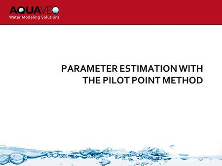 PARAMETER ESTIMATION WITH THE PILOT POINT METHOD.