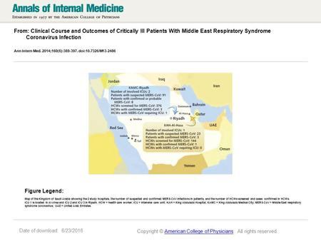 Date of download: 6/23/2016 From: Clinical Course and Outcomes of Critically Ill Patients With Middle East Respiratory Syndrome Coronavirus Infection Ann.