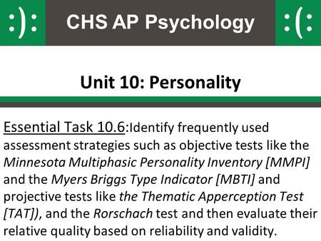 CHS AP Psychology Unit 10: Personality Essential Task 10.6: Identify frequently used assessment strategies such as objective tests like the Minnesota Multiphasic.