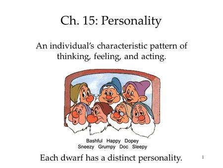 1 Ch. 15: Personality An individual's characteristic pattern of thinking, feeling, and acting. Each dwarf has a distinct personality.