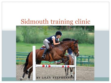 BY LILLY STEPHENSON Sidmouth training clinic. What is it? A horse riding instructing business, where instructors as well as myself are hired to teach.