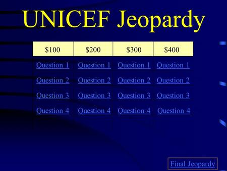 UNICEF Jeopardy $100$200$300$400 Question 1 QQuestion 2 QQuestion 3 QQuestion 4 QQuestion 1 Question 2 Question 3 Question 4 QQuestion 4 Final Jeopardy.