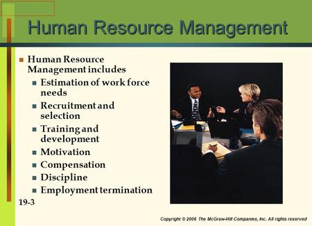 Copyright © 2006 The McGraw-Hill Companies, Inc. All rights reserved Human Resource Management Human Resource Management includes Estimation of work force.