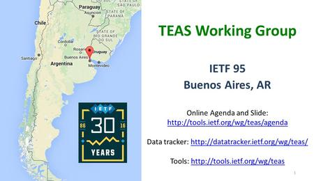 1 IETF 95 Buenos Aires, AR TEAS Working Group Online Agenda and Slide:  Data tracker:
