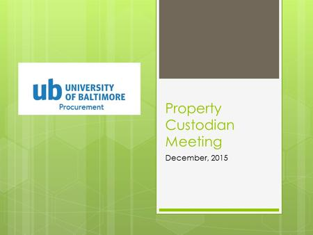 Property Custodian Meeting December, 2015. Review of USM Internal Auditor Findings  Capital and sensitive equipment inventory was not properly tracked.
