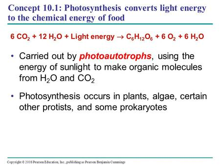 Concept 10.1: Photosynthesis converts light energy to the chemical energy of food Carried out by photoautotrophs, using the energy of sunlight to make.