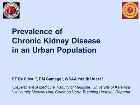 Prevalence of Chronic Kidney Disease in an Urban Population