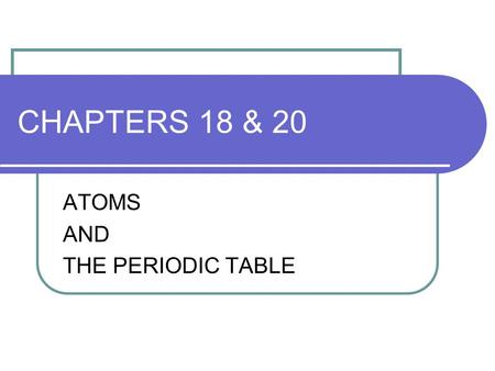 CHAPTERS 18 & 20 ATOMS AND THE PERIODIC TABLE. MODELS OF THE ATOM 1. Dalton's Model: proposed the first model of atoms in the early 1800's; thought atoms.