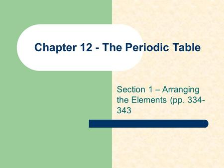Chapter 12 - The Periodic Table Section 1 – Arranging the Elements (pp. 334- 343.