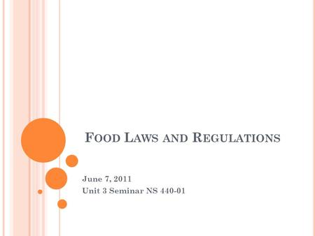F OOD L AWS AND R EGULATIONS June 7, 2011 Unit 3 Seminar NS 440-01.