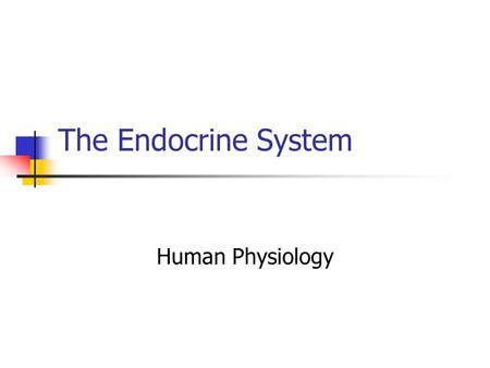The Endocrine System Human Physiology. Hormones: Come from endocrine glands Circulate in the blood stream Act on specific cells in the body Endocrine.