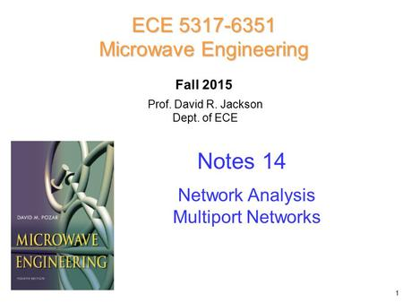 Prof. David R. Jackson Dept. of ECE Notes 14 ECE 5317-6351 Microwave Engineering Fall 2015 Network Analysis Multiport Networks 1.