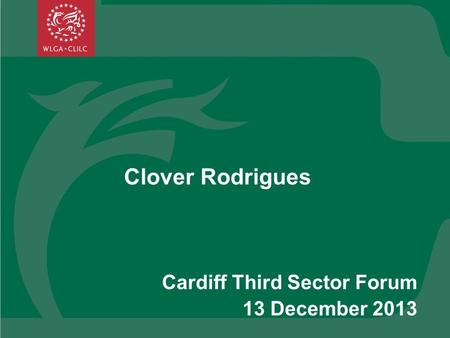 Clover Rodrigues Cardiff Third Sector Forum 13 December 2013.