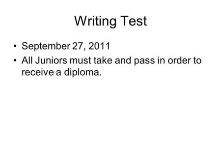Writing Test September 27, 2011 All Juniors must take and pass in order to receive a diploma.