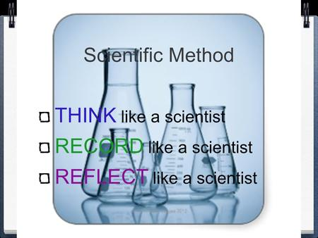 Scientific Method THINK like a scientist RECORD like a scientist REFLECT like a scientist.