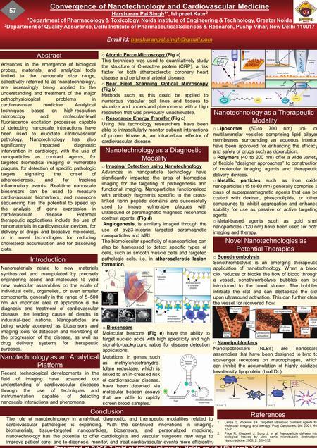 Convergence of Nanotechnology and Cardiovascular Medicine Harsharan Pal Singh 1 *, Ishpreet Kaur 2 1 Department of Pharmacology & Toxicology, Noida Institute.