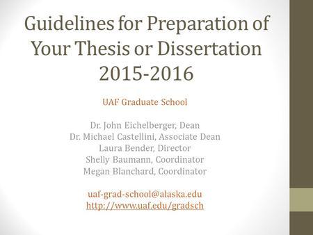 Thesis Versus Dissertation