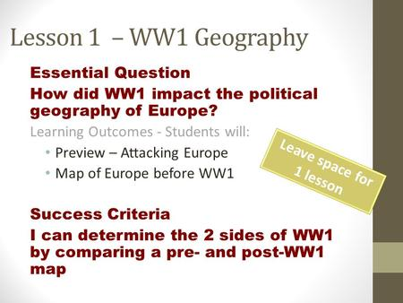 Lesson 1 – WW1 Geography Essential Question How did WW1 impact the political geography of Europe? Learning Outcomes - Students will: Preview – Attacking.