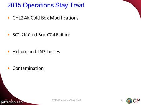 2015 Operations Stay Treat CHL2 4K Cold Box Modifications SC1 2K Cold Box CC4 Failure Helium and LN2 Losses Contamination 1 2015 Operations Stay Treat.