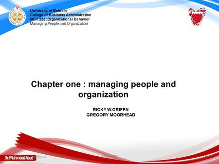 Chapter one : managing people and organization
