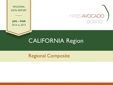CALIFORNIA Region Regional Composite REGIONAL DATA REPORT JAN – MAR 2016 vs. 2015.