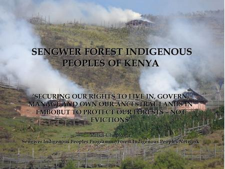 SENGWER FOREST INDIGENOUS PEOPLES OF KENYA 'SECURING OUR RIGHTS TO LIVE, GOVERN, MANAGE AND OWN OUR ANCESTRAL LANDS IN EMBOBUT FOREST IS A SOLUTION TO.