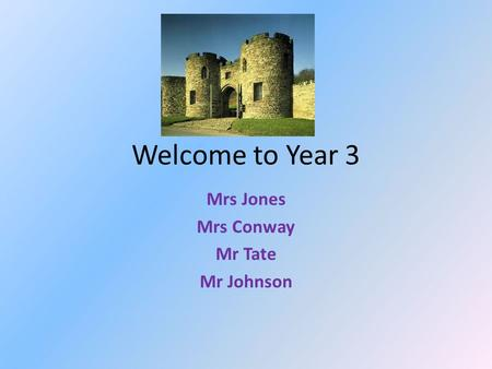 Welcome to Year 3 Mrs Jones Mrs Conway Mr Tate Mr Johnson.