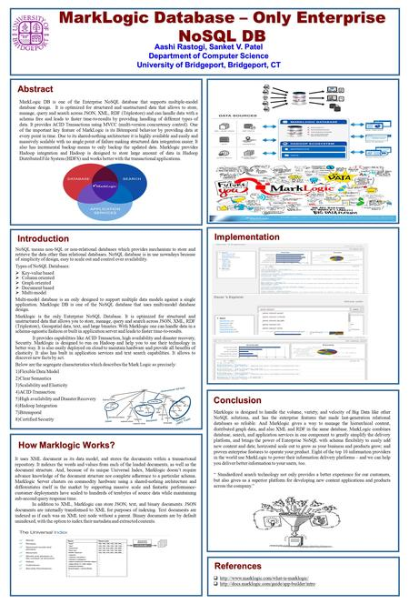 Abstract MarkLogic Database – Only Enterprise NoSQL DB Aashi Rastogi, Sanket V. Patel Department of Computer Science University of Bridgeport, Bridgeport,