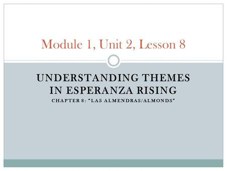 Module 1, Unit 2, Lesson 8 Understanding Themes in Esperanza Rising