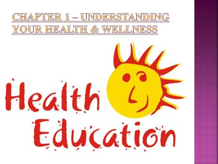  Health – combination of physical, mental, and social well-being that affects everything about you.