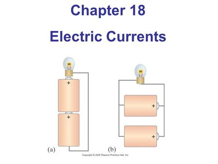 Chapter 18 Electric Currents. Units of Chapter 18 The Electric Battery Electric Current Ohm's Law: Resistance and Resistors Resistivity Electric Power.