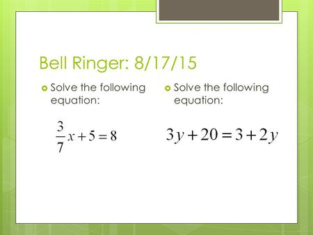 Bell Ringer: 8/17/15  Solve the following equation:
