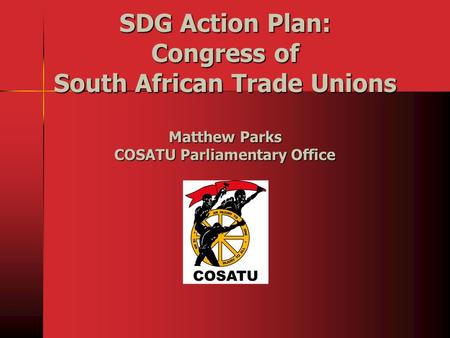 SDG Action Plan: Congress of South African Trade Unions Matthew Parks COSATU Parliamentary Office.