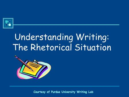 Courtesy of Purdue University Writing Lab Understanding Writing: The Rhetorical Situation.