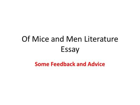 essays on of mice and men theme