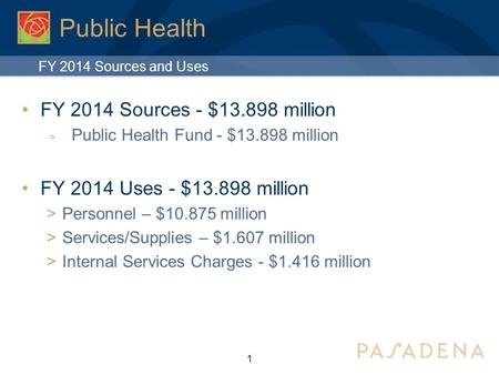Public Health FY 2014 Sources - $13.898 million  Public Health Fund - $13.898 million FY 2014 Uses - $13.898 million  Personnel – $10.875 million  Services/Supplies.