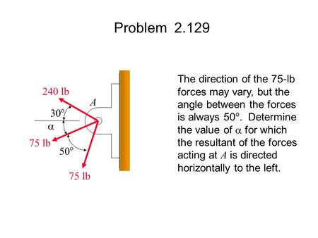 Problem 2.129 The direction of the 75-lb forces may vary, but the angle between the forces is always 50 o. Determine the value of  for which the resultant.