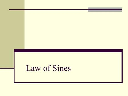 Law of Sines. Introduction In this section, we will solve oblique triangles – triangles that have no right angles. As standard notation, the angles of.