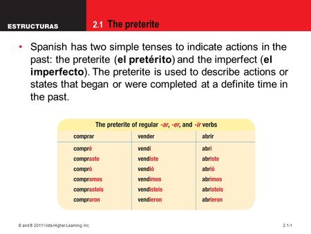 2.1 The preterite © and ® 2011 Vista Higher Learning, Inc.2.1-1 Spanish has two simple tenses to indicate actions in the past: the preterite (el pretérito)