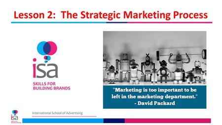 Lesson 2: The Strategic Marketing Process. Lesson 2 Objectives The purpose of this lesson is to describe the structure or outline of a strategic marketing.