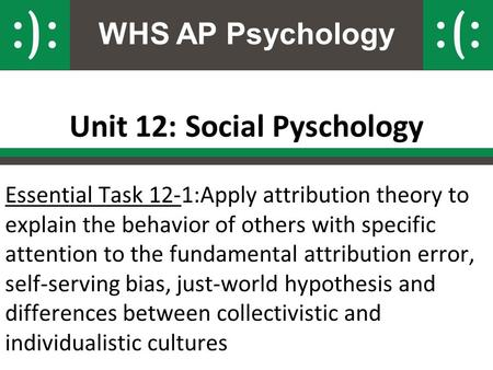WHS AP Psychology Unit 12: Social Pyschology Essential Task 12-1:Apply attribution theory to explain the behavior of others with specific attention to.
