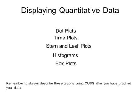 Displaying Quantitative Data Dot Plots Time Plots Stem and Leaf Plots Histograms Box Plots Remember to always describe these graphs using CUSS after you.