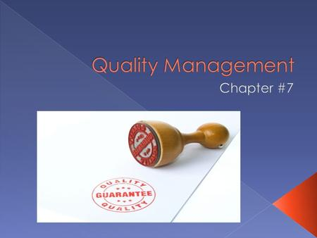  The concept of Quality is very broad and can be defined in various way:  From the customer point of view: (Specification Quality) › Quality is the.