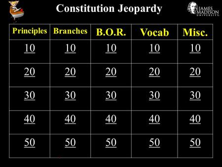 Constitution Jeopardy Principles Branches B.O.R. VocabMisc. 10 20 30 40 50.