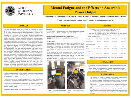 ABSTRACT INTRODUCTION Mental Fatigue and the Effects on Anaerobic Power Output J. Zepernick 1, N. VanDomelen 1, K. De Jong 1, C. Nilson 1, K. Long 1, E.