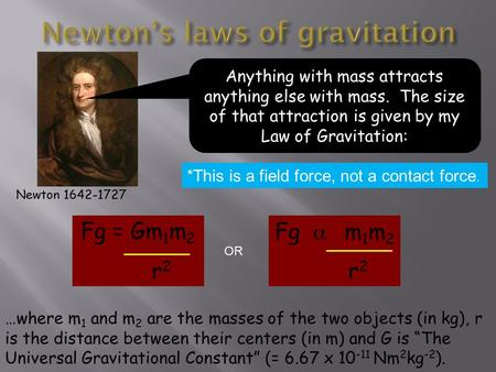 Newton 1642-1727 Anything with mass attracts anything else with mass. The size of that attraction is given by my Law of Gravitation: Fg = Gm 1 m 2 r 2.
