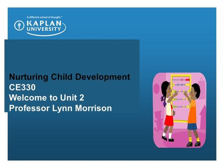 Nurturing Child Development CE330 Welcome to Unit 2 Professor Lynn Morrison.