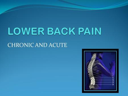 CHRONIC AND ACUTE. Nature of Condition Related to Anatomy The lumbar spine refers to the lower back, where the spine curves inward toward the abdomen.