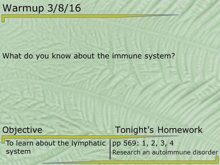 Warmup 3/8/16 What do you know about the immune system? Objective Tonight's Homework To learn about the lymphatic system pp 569: 1, 2, 3, 4 Research an.